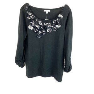 New York & Company  Black Floral Applique Sweater